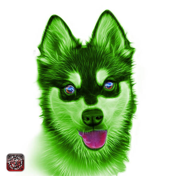 Painting - Green Alaskan Klee Kai - 6029 -wb by James Ahn