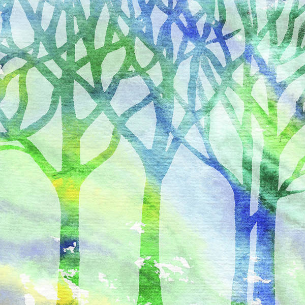 Into The Woods Wall Art - Painting - Green And Blue Forest Silhouette by Irina Sztukowski