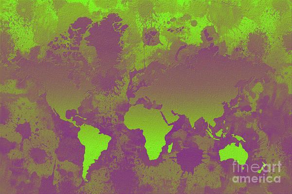 New Trend Digital Art - Green And Purple World Map by Zaira Dzhaubaeva