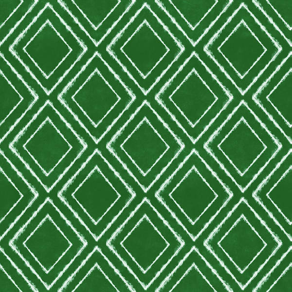 Pattern Mixed Media - Green And White Inky Diamonds- Art By Linda Woods by Linda Woods
