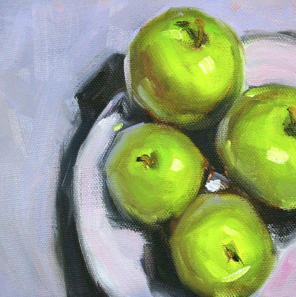 Vegan Painting - Green Apple Plate by Nancy Merkle