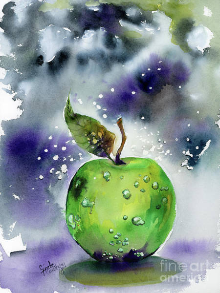 Painting - Green Apple Watercolor Painting by Ginette Callaway