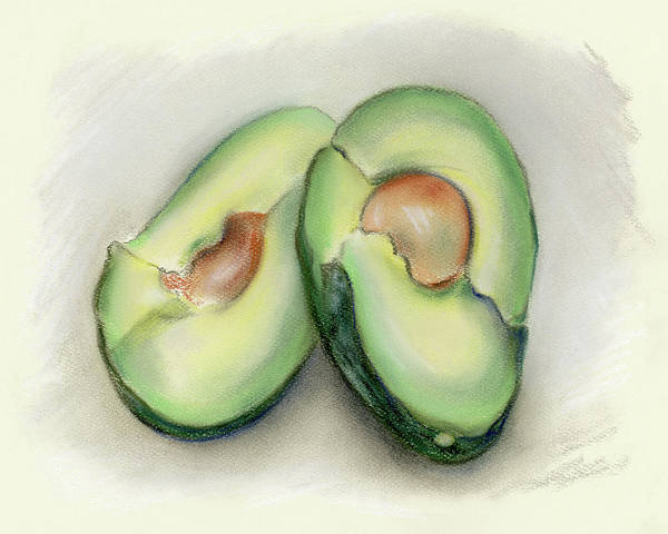 Pastel - Green Avocado Halves by MM Anderson