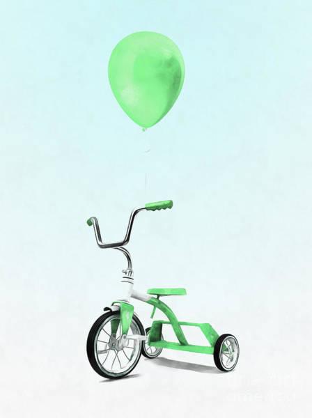 Wall Art - Digital Art - Green Balloon Green Tricycle by Edward Fielding