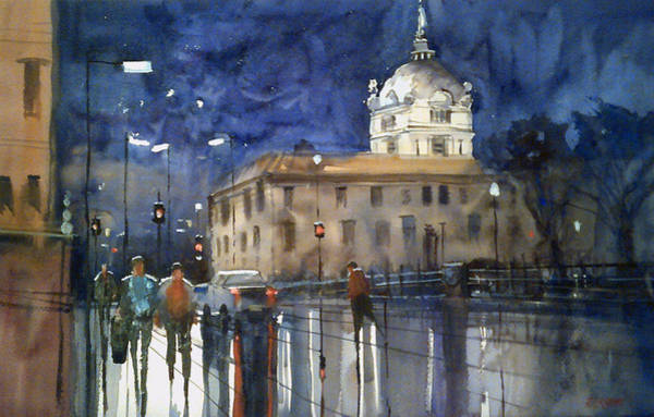 Courthouse Painting - Green Bay Lights by Ryan Radke