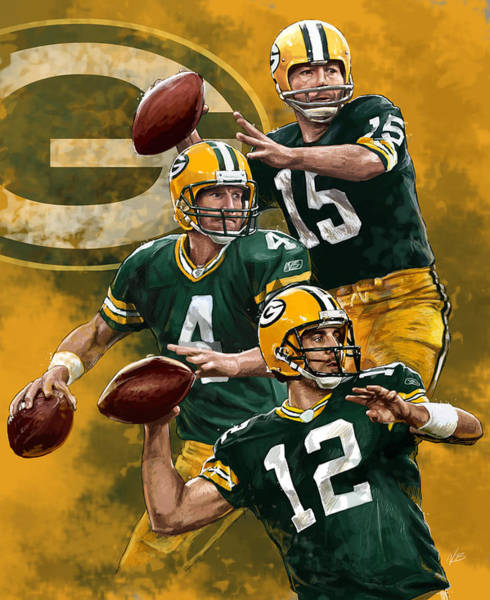 Football Players Wall Art - Painting - Green Bay Packers Quarterbacks by Nate Baranowski