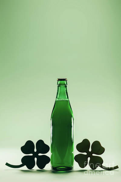 Four Leaf Clover Photograph - Green Beer Bottle. St. Patric's Day Decoration by Michal Bednarek