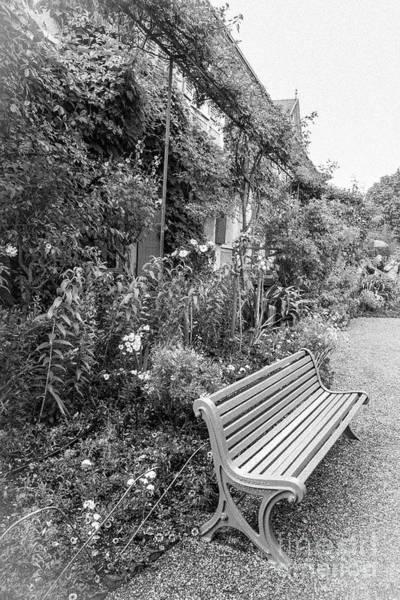 Claude Monet Photograph - Green Bench At Monet's Home, Giverny, Blk Wht by Liesl Walsh