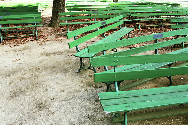 Wall Art - Mixed Media - Green Benches- Fine Art Photo By Linda Woods by Linda Woods