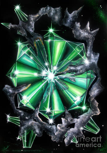 Green Beryl Crystals In Space Art Print