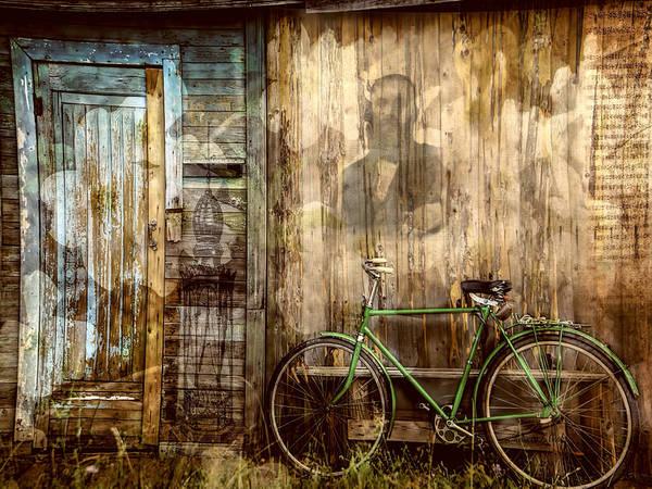 Photograph - Green Bike Crooked Door by Bellesouth Studio