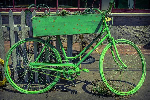 Flowers Bike Wall Art - Photograph - Green Bike by Garry Gay
