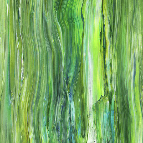 Abstraction Painting - Green Blue Organic Abstract Art For Interior Decor V by Irina Sztukowski