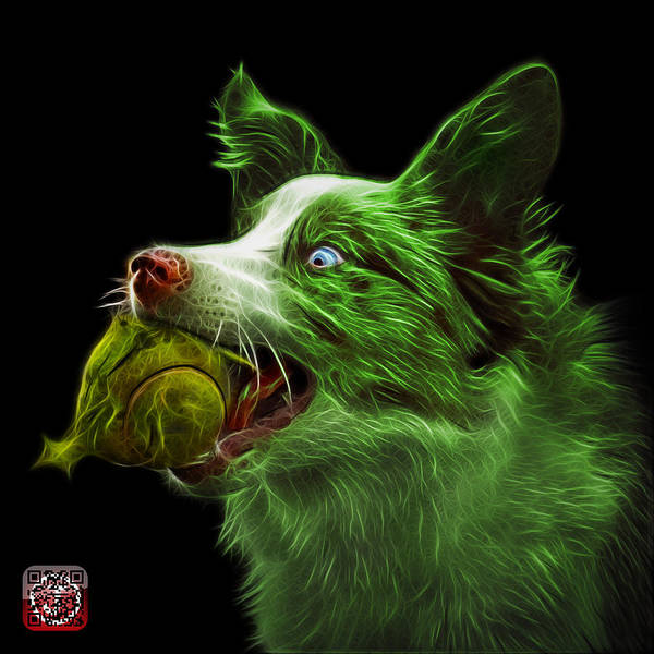 Painting - Green Border Collie -  Elska - 9847 - Bb by James Ahn