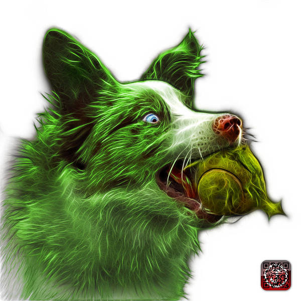 Painting - Green Border Collie - Elska -  9847 - Wb by James Ahn