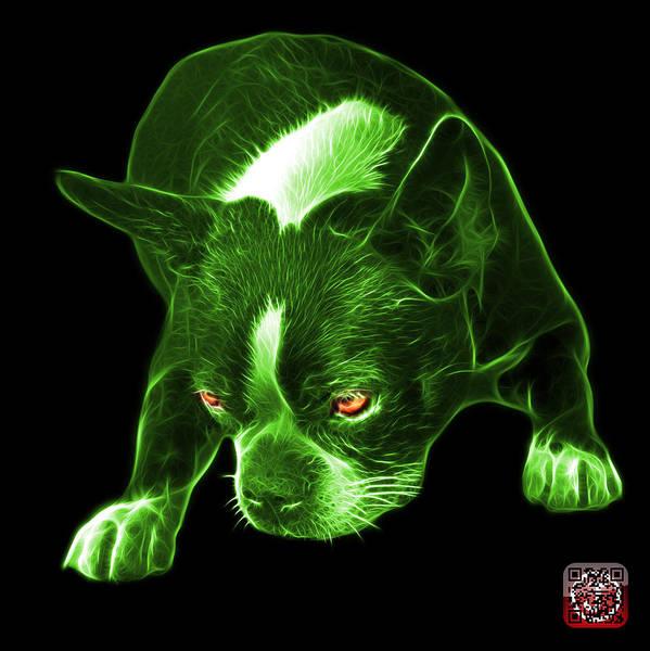 Mixed Media - Green Boston Terrier Art - 8384 - Bb by James Ahn