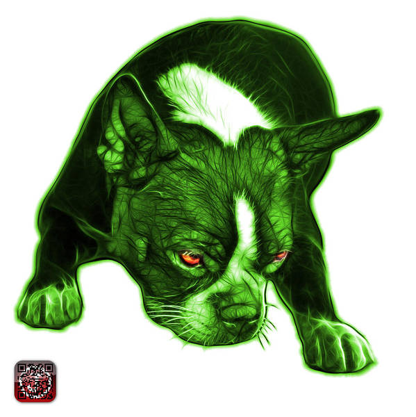 Mixed Media - Green Boston Terrier Art - 8384 - Wb by James Ahn