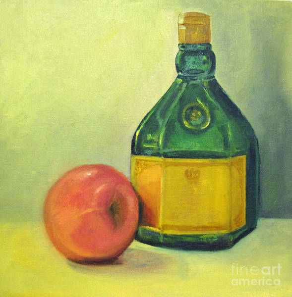 Painting - Green Bottle And Apple by Asha Sudhaker Shenoy