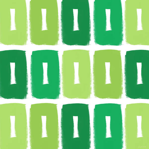 Shade Painting - Green Boxes- Art By Linda Woods by Linda Woods