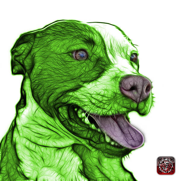 Mixed Media - Green Bull Fractal Pop Art - 7773 - F - Wb by James Ahn