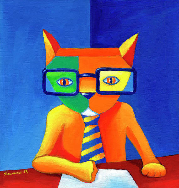 Wall Art - Painting - Green Business Cat by Mike Lawrence