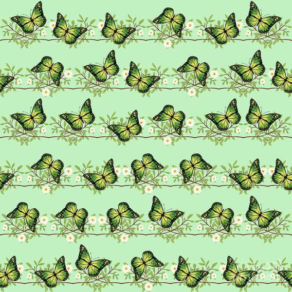 Wall Art - Digital Art - Green Butterflies Pattern by Gaspar Avila