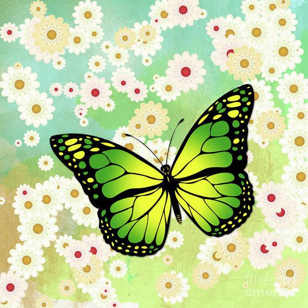 Wall Art - Digital Art - Green Butterfly by Gaspar Avila