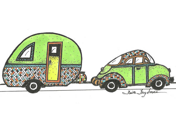 Trailer Drawing - Green Car And Trailer by Faith Frykman