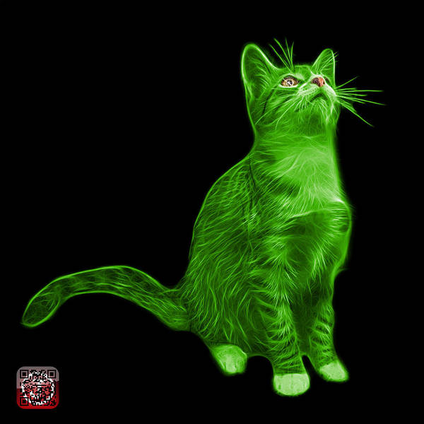 Painting - Green Cat Art - 3771 Bb by James Ahn