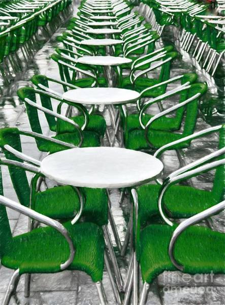 Photograph - Green Chairs In Venice by Mel Steinhauer