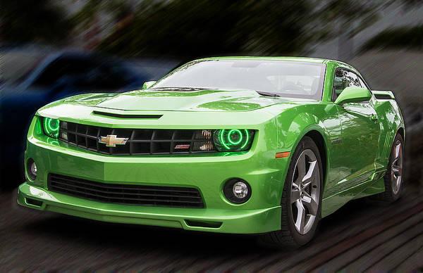 Photograph - Green Chevrolet Camaro by Bob Slitzan