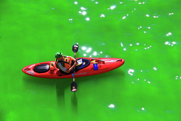 Photograph - Green Chicago River Water Kayak by Patrick Malon