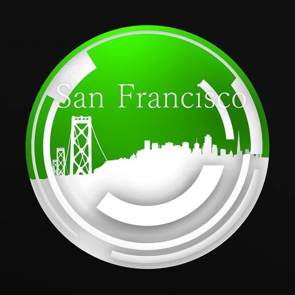 Digital Art - Green Circular San Francisco Skyline by Alberto RuiZ