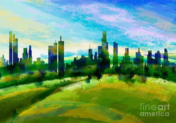 Grass Tree Digital Art - Green City by Peter Awax