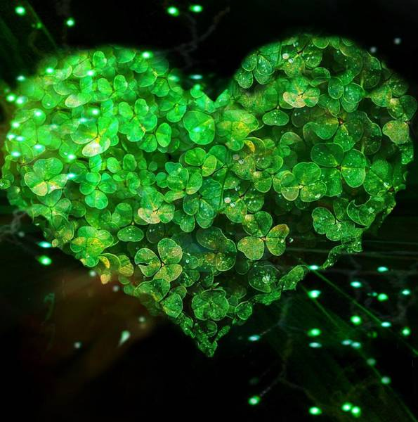 Digital Art - Green Clover Heart by Lisa Arbitrary