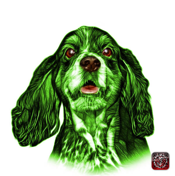Mixed Media - Green Cocker Spaniel Pop Art - 8249 - Wb by James Ahn
