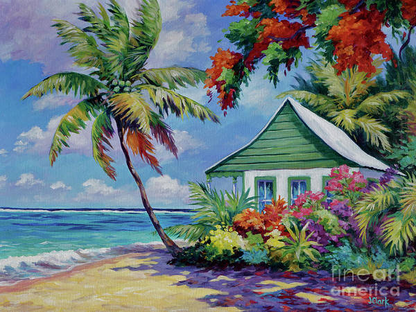Wall Art - Painting - Green Cottage On The Beach by John Clark