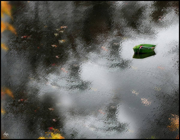 Photograph - Green Dingy In Gray Water  by Wayne King