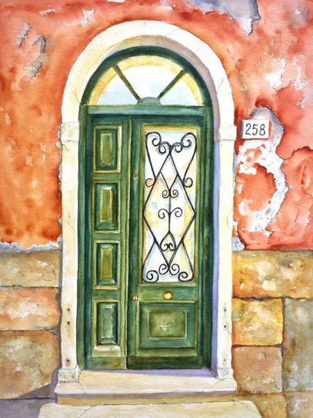 Window Frame Painting - Green Door In Venice Italy by Carlin Blahnik CarlinArtWatercolor