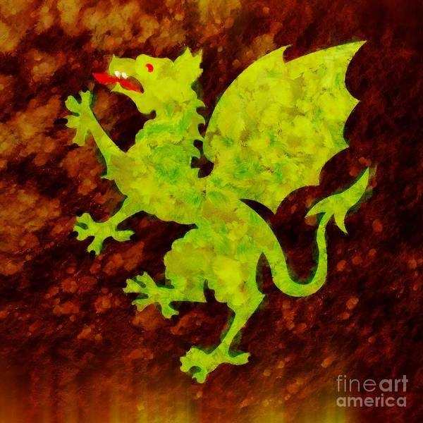 Pixie Painting - Green Dragon By Sarah Kirk by Sarah Kirk