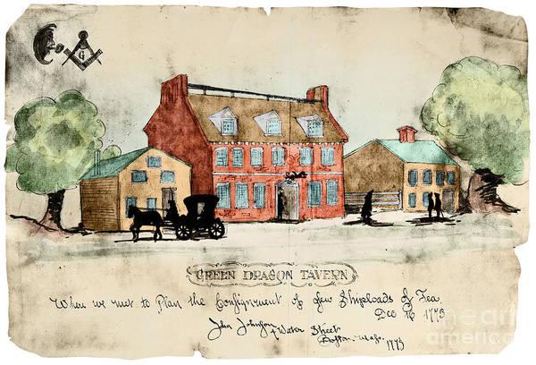 Digital Art - Green Dragon Tavern 1773 by John Johnston