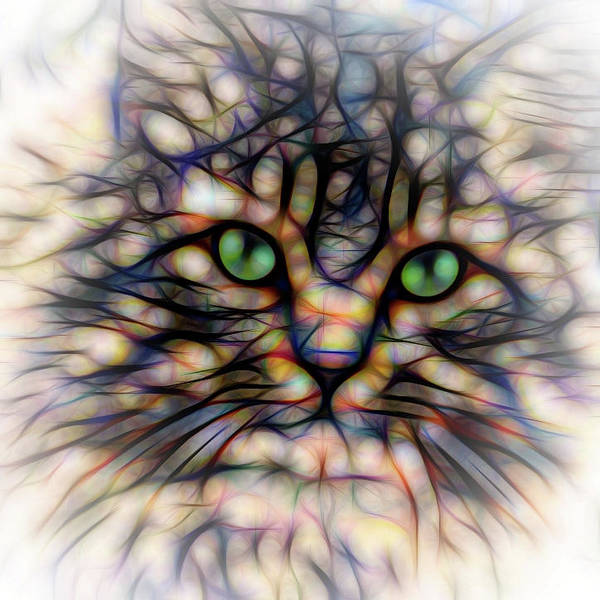 Digital Art - Green Eye Kitty Square by Terry DeLuco