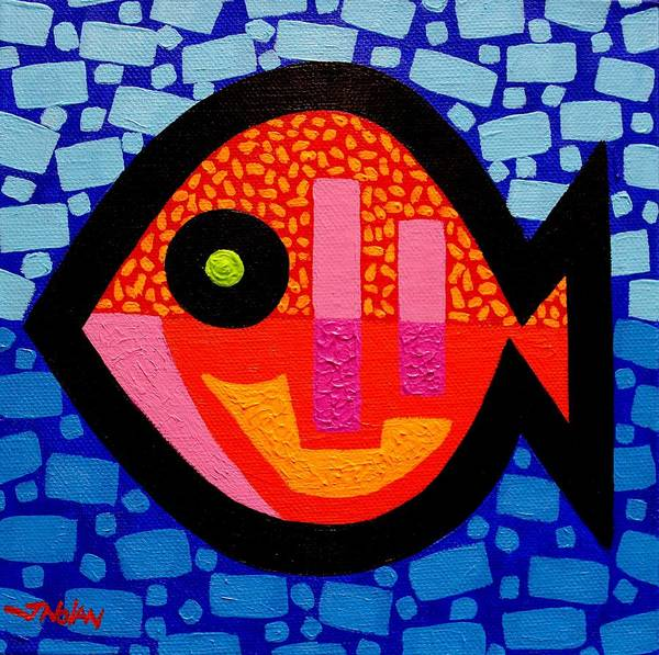 Wall Art - Painting - Green Eyed Fish  by John  Nolan