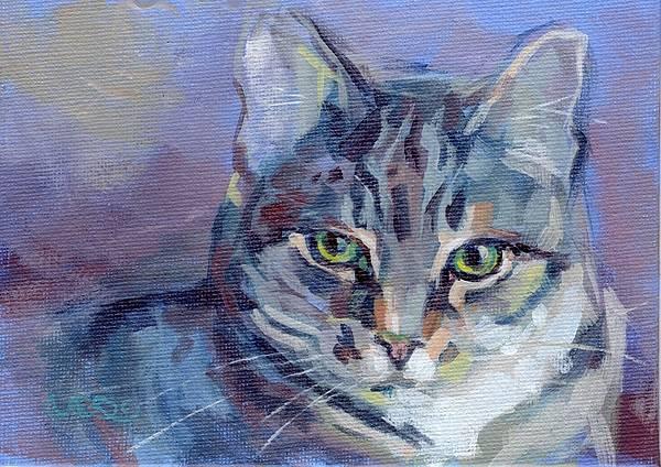 Cat Eyes Painting - Green Eyed Tabby - Thomasina by Kimberly Santini