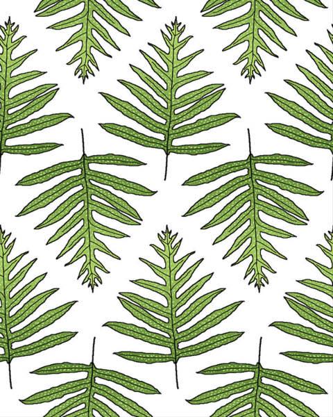 Digital Art - Green Fern Array by Karen Dyson