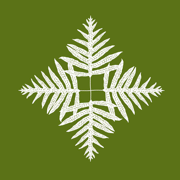 Digital Art - Green Fern Diamond by Karen Dyson