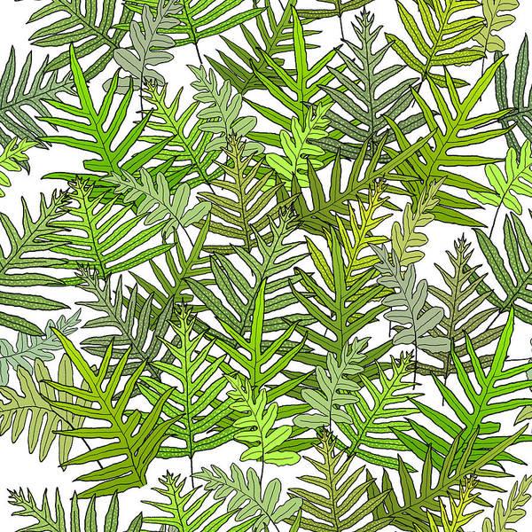 Digital Art - Green Fern Tangle On White by Karen Dyson