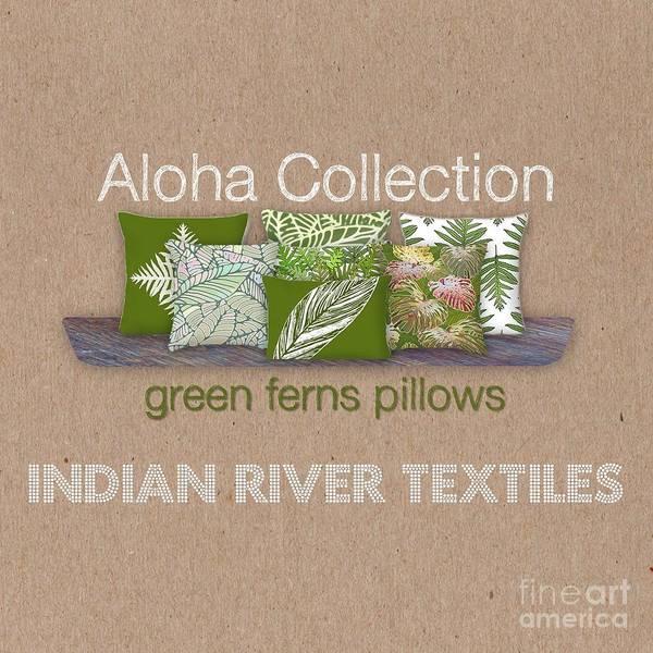 Digital Art - Green Ferns Pillow Collection by Karen Dyson