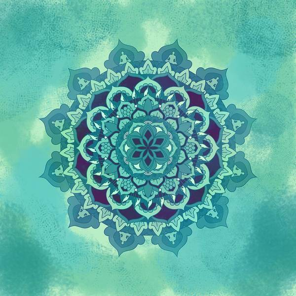 Eastern Digital Art - Green Floral Mandala by Thubakabra
