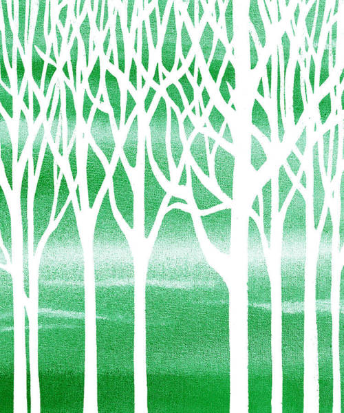 Into The Woods Wall Art - Painting - Green Forest By Irina Sztukowski by Irina Sztukowski
